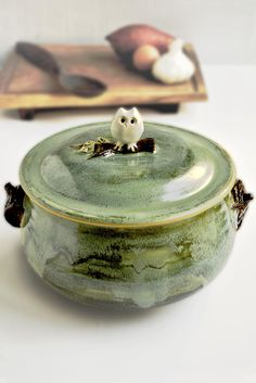Owl Casserole wheel thrown from Lee Wolfe Pottery
