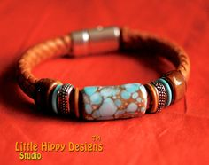 "Regaliz Licorice Leather Bracelet with LIttle Hippy Designs Focal Bead, One of a Kind - ""Aqua Boogie"""