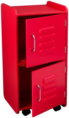 Bright red storage locker to help keep the kids' room clean and organized (and to keep messes out of sight).