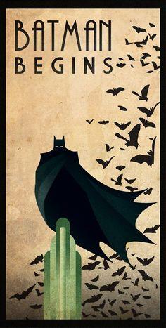 Modern Movie poster fan art, retro Art Deco style; Batman