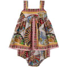 Cotton poplin dress - Pink and yellow Dolce & Gabbana для малышей ...