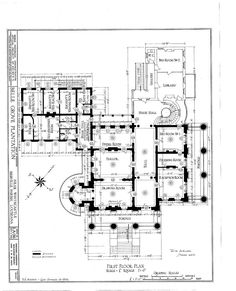 1857 - Belle Grove Plantation Mansion, White Castle Louisiana. First floor plan.