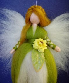 YELLOW ROSE Fairy Needle Felted Wool Doll Angel Faeries Soft Sculpture Waldorf Inspired. $26.00, via Etsy.