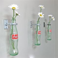 3 Cobalt Blue Wine Bottle Wall Flower Vases By Greatbottlesoffire 1 Coca Cola Hanging Coke Decor Vintage Kitchen Mothers Day Gift For Mom. nautical home decor. primitive home decor. home decor websites. linon home decor. Garrafa Coca Cola, Red Wall Decor, 50s Decor, Diner Decor, Coca Cola Decor, Coca Cola Kitchen, Coca Cola Bottles, Wine Bottles, Glass Bottles