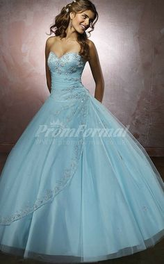Sky Blue Strench Tulle Sweetheart Lace-up Ball Gown Quincenera Dresses