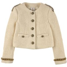 Tweed jacket with pearls, cabochons and rhinestones - Ivory