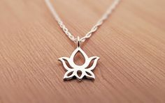 Petite Lotus Necklace sterling silver flower by StarlingDesignShop, $26.00