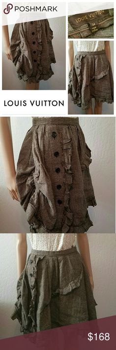 Incredible LOUIS VUITTON Ruched & Ruffled Skirt How Amazing is this number!! Incredible Louis Vuitton ruched and ruffled plaid skirt! Just Divine! As New, no flaws! Wish this fit me!! Absolutely Authentic! Made in France. Size 34. Best fit a 2-4 Louis Vuitton Skirts