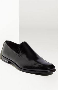 Prada High Shine Apron Toe Slip On (Men) $650