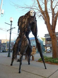 "spook    Handmade Stilt Spirit"", by: Melissa Irwin.     http://youtu.be/wB2HTAcbmck Video of how this creation was made and how to make it yourself(sort of)    halloween"