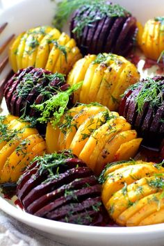 Scandinavian-inspired Roasted Hasselback Beets with Dill Dressing will become your new favorite way to enjoy beets! Enjoy warm or cold! Beet Recipes, Vegetable Recipes, Cooking Recipes, Healthy Recipes, Recipes With Dill, Celiac Recipes, Vegetable Ideas, Tasty Meals, Paleo Meals