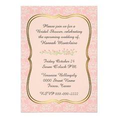 Chic Peach Damask Bridal Shower Invitation