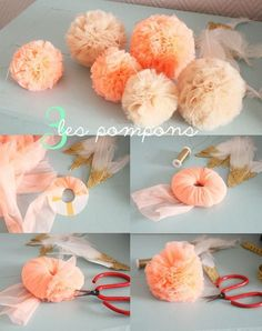 DIY Tulle Pom pom - La guirlande girly by Louise Misha Diy Diy Flowers, Fabric Flowers, Paper Flowers, Flower Diy, Pom Pom Flowers, Tulle Flowers, Chiffon Flowers, Handmade Flowers, Diy Projects To Try