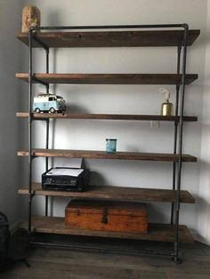 Industry metal reclaimed wall unit bookcase - rustic bookcase - industrial furniture - Industrial Bookshelf This industrial bookshelf will be a conversation starter! Made from scrap wood - Reclaimed Wood Bookcase, Rustic Bookshelf, Bookshelf Design, Narrow Bookshelf, Salvaged Doors, Bookcase Wall Unit, Metal Bookcase, Bookshelves, Pipe Bookshelf