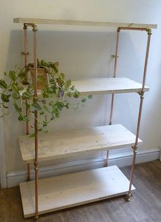 Industrial Copper Pipe Shelving Unit Shelves Bookcase Pipe