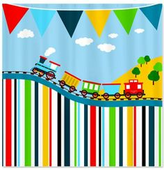 Happy Train Personalized Kids Shower Curtain By HappyGraphicsShop 6500 Childrens Bathroom Curtains