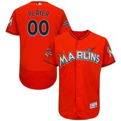 d52ee5f38 Men Miami Marlins Majestic Alternate Fire Red 2017 Authentic Flexbase  Custom MLB Jersey with All-Star Game Patch
