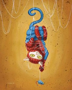 In love with her art. Spideycat - 8 x 10 art print - cat dressed like spiderman hanging from web yellow ochre white kitty cat toy Crazy Cat Lady, Crazy Cats, Super Cat, Cat Dresses, Cat Toys, Cat Art, Cats And Kittens, Cats Meowing, Funny Cats