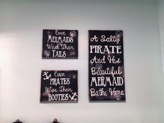 Project Nursery - Pirate Sign, Mermaid Sign, Bathroom Sign Kids Bathroom nautical