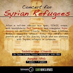 Paul Towndrow and Ryan Quigley to perform a concert in aid of Syrian refugees on August 18th. More info: https://www.facebook.com/events/899783496793588/