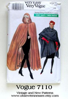 Ladies Capes and Ruanas can be made with Vogue 7110, a vintage sewing pattern. See it at www.ohsewtennessee.etsy.com Capes For Women, Ladies Capes, Coat Patterns, Clothing Patterns, Cape Pattern, Cape Coat, Vintage Coat, Vintage Sewing Patterns, High Fashion