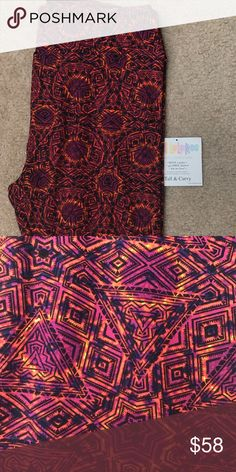 LuLaRoe TC bright pink/orange BNWOT brand new just didn't come with tags. Awesome print with hot pink and orange. Smoke free and pet free home. LuLaRoe Pants Leggings