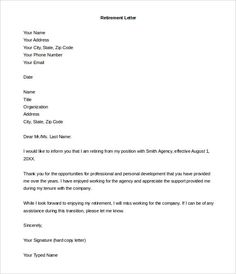 Letter Of Resignation Format Sample Retirement Letter Templates   Free  Sample, Example Format .
