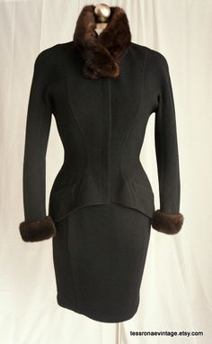 Vintage Thierry Mugler 80s does 40s Black Wool by TessRonaeVintage