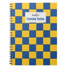 Tiled Woven Blue and Yellow Notebook with customazable Project Label
