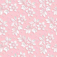 Papel De Parede Adesivo Floral Estilo 3d Fundo Rosa - Papel de Parede Digital