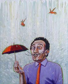 #Januaryhaze ©GN 2017; 20 x 16 in; acrylic, oencils, ink & oil on canvas  #SalvadorDalí #umbrella #waterfall #painting #arte #hummingbirds #surrealism #GabrielNavar #texture #textura #rain  #kunstler #contemporaryart   http://gabrielnavar.com