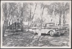 Vintage Photo Men Camping 1957 Mercury Commuter Station Wagon Car