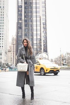 Winter Classics :: Plaid coat & White bag