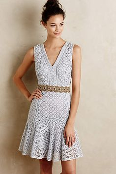 Flounced Lace Dress - anthropologie.com