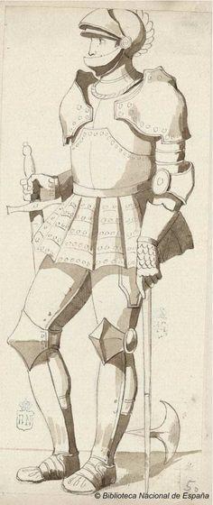 [Caballero con armadura]. Castellano, Manuel 1826-1880 — Dibujo — 1846-1880?