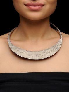 Buy Silver Tribal Hasli Jewelry Necklaces/Pendants Folk Flourish Intricate with designs Online at Jaypore.com