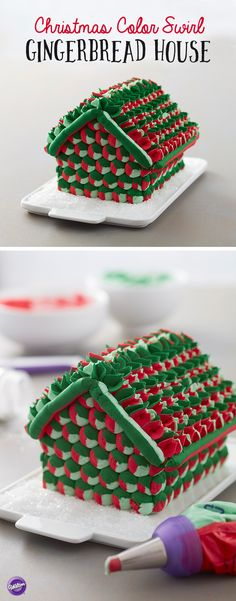 Christmas Color Swirl Gingerbread House - No need to spend a ton of time decorating your gingerbread house…with this Hues of Christmas Gingerbread House project, you can let the colors do the work for you! A fun and quick project to make for your holiday gathering, this Christmas treat is decorated using the Color Swirl 3-Color Coupler, allowing you to pipe three colors at once! You only need two decorating tips to replicate this gingerbread house…and no one has to know how easy it was to…