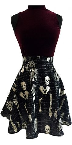 Anatomically Correct Skater Skirt by Folter - glows in the dark - SALE sz S only (Dresses And Skirts). Anatomically Correct Skele Skater Skirt cotton skirt that glows in the dark? Mode Outfits, Fashion Outfits, Womens Fashion, Dark Fashion, Gothic Fashion, Gothic Outfits, Alternative Fashion, Style Inspiration, Trends