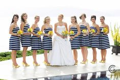 These navy + white striped bridesmaid dresses are perfect for the preppy bride!