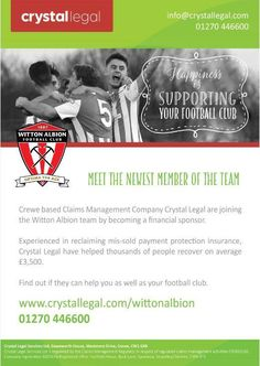 Crystal Legal Services will be at Witton Albion FC tonight with a representative ready to answer all of your questions about Payment Protection Insurance and Package Bank Accounts!