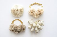 fabric necklaces and natural coral specimans, by the vamoose