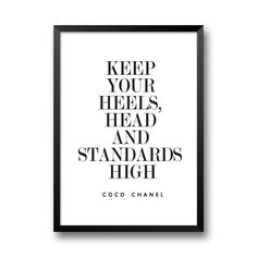 Coco Chanel Quote, Keep Your Heels Head and Standards High, Digital Print, Fashion Quote, Chanel Print, Chanel Poster, Instant Download