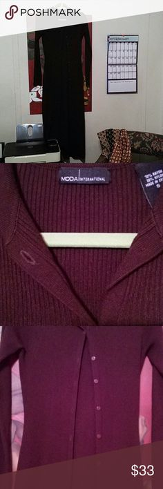 55 Inches!! (4ft 7in.)!! Mods international sweater. Dark brown and floor length!!! Buttons go 3/4 the way down the front. Cuffs are split. 70% rayon/30% nylon. It's absolutely gorgeous! Very gently used. Size small but can easily fit a medium. Moda International Sweaters Cardigans