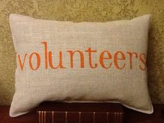 Tennessee Volunteers Stenciled Burlap Pillow by BurlapPillowsEtc --> I like this idea. Tennessee Football, University Of Tennessee, Burlap Pillows, Throw Pillows, Vol Nation, Tn Vols, Tennessee Girls, Sounds Good To Me, Man Room