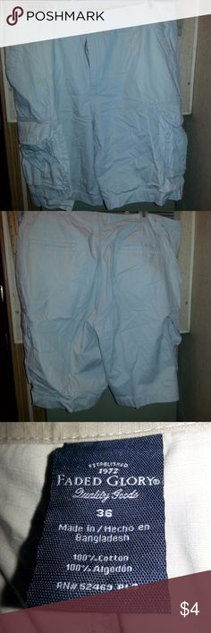 Mans Faded Glory White Shorts Sz 36 Actual Pictures of Mans Faded Glory White Shorts Sz 36         I (slscsi) have 1200+ Positive Transactions on eBay.  Products are in Excellent Condition & Free of Dirt, Holes, Rips or Stains. Faded Glory Shorts Cargo