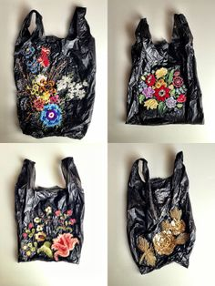 Bodega Bags with embroidery / sac plastique brodé Embroidery Art, Embroidery Stitches, Estilo Hippie, Moda Emo, Fabric Manipulation, Textile Artists, Fiber Art, Needlework, Creations