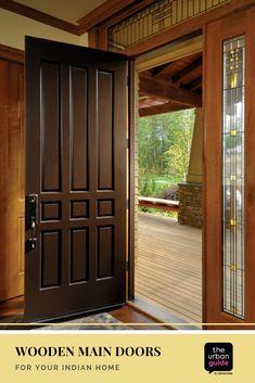 Wooden Main Door Design: 10 Solid Ideas For Your Indian Home - wooden door design Indian Main Door Designs, Single Main Door Designs, House Main Door Design, Main Entrance Door Design, Home Door Design, Bedroom Door Design, Door Design Interior, Indian Window Design, Door And Window Design