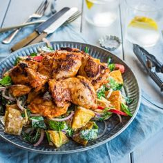 Smoked Paprika Chicken with Roast Potato Spinach Salad - Nadia Lim Smoked Paprika Chicken, Cooking Recipes, Healthy Recipes, Savoury Recipes, Diabetic Recipes, Cooking Tips, Salad Recipes, Healthy Food, Healthy Eating