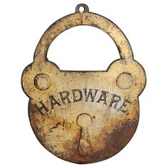 Turn of the Century Cast Iron Hardware Trade Sign | From a unique collection of antique and modern signs at http://www.1stdibs.com/furniture/folk-art/signs/