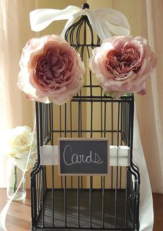 shabby chic wedding card holder | Black Shabby Chic Wedding Birdcage Card Holder - Great for rustic or ...